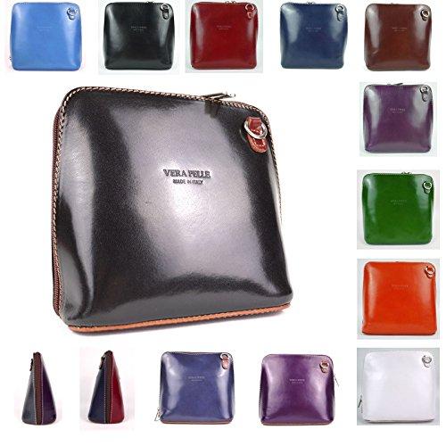 Piel italiana para pequeño Cruz Cuerpo Bolso o bolsa de hombro, azul (azul) - PS14 negro