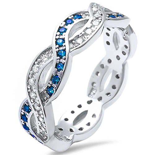 Full Eternity Crisscross Infinity Band Ring Simulated Blue Sapphire Round CZ 925 Sterling Silver, Size-7 (Black Sapphire Cross)