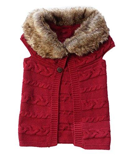 Fur Sweater Vest (Baby Little Girls Sweater Vest Fur Collar Outerwear)