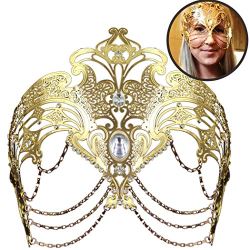 Coxeer Masquerade Mask Metal Venetian Mask Halloween Mardi Gras Mask Christmas Wedding Party Mask (Gold) ()