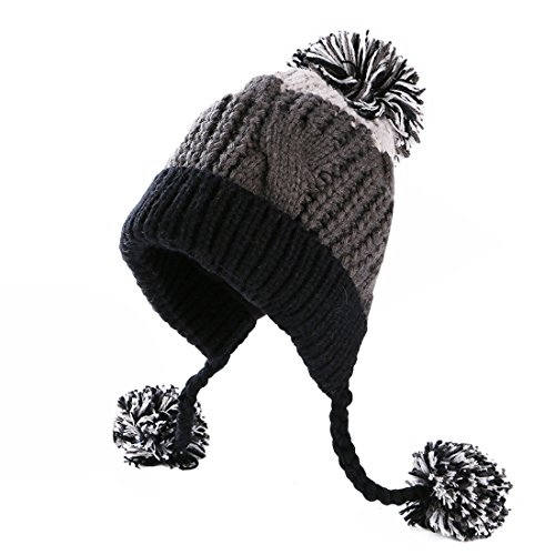 HUAMULAN Women Winter Thick Beanie Hat Ski Ear Flaps Caps Dual Layered Fleece Lined Pompoms,Gray Black