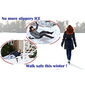 Ice Cleats For Men & Women - Fit on Most Shoes & Boots, Prevent Slipping on Ice and Snow - Snow Grips Provide Stability - Make Winter Walking Safer, 2PCS by Perfect Life Ideas