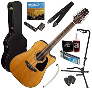 Takamine GD30CE-12 12-String A/E Guitar BUNDLE w/ Case, Tuner, Strap & Stand