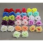 ISADENSER-100-Pack-Roses-Flower-Head-Artificial-Flowers-Heads-for-Wedding-Flowers-Accessories-Make-Bridal-Hair-Clips-Dress-Silk-Rose-Flower-Head-Light-Blue