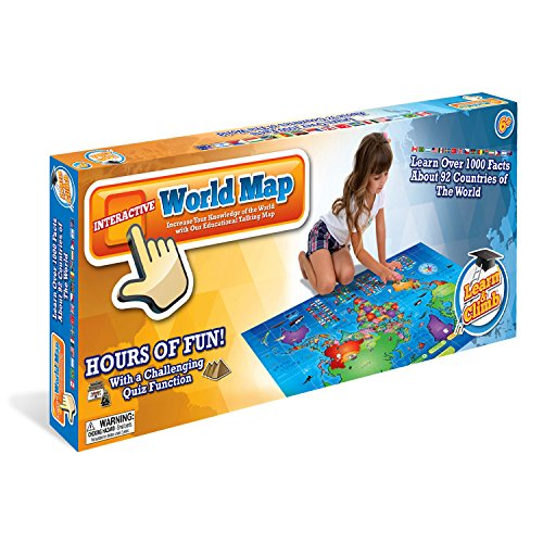 Kids Interactive Talking World Map Touch Activated Geography for Kids, Push-to-Talk Map Learn Over 1000 Facts and Quizzes About 92 Countries World Map Puzzle Game, Fun & Educational by Learn & Climb (Image #2)