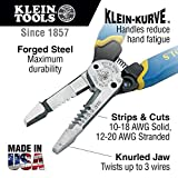 Wire Cutter and Wire Stripper, Cuts Solid Wire and Stranded Wire, with Screw Shearing Klein Tools K12055