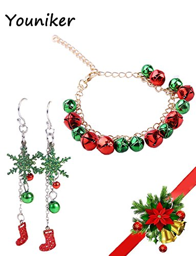 Christmas Earrings Bracelet Sets - Hypoallergenic Christmas Stockings Drop Dangle Earrings Jingle Bells Bracelet Jewelry Sets for Women Christmas Gift Jewelry for Girls Kids Teens, Xmas Holiday Gift