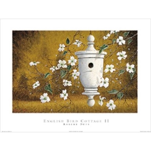 English Bird Cottage - Buyartforless English Bird Cottage II by Robert Duff 24x18 Art Print Poster White Bird Home Hanging from The Right with White Stem Flowers