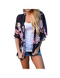 Winhurn Chiffon Sexy Summer Spring Women Top Cover Blouse Floral Print Beach Loose Shawl Kimono Cardigan