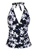 Hilor Women's Plunging V Neck Halter Swim Tops Shirred Tankini Top White Floral 12