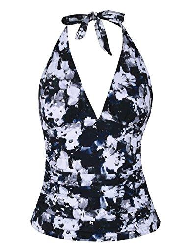- Hilor Women's Plunging V Neck Halter Swim Tops Shirred Tankini Top White Floral 18