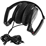 Sony MDR-NC7-CBB Noise Canceling On Ear Audio & Video Wired Headphones with Neodymium Magnet & 30mm Drivers - Compact for Travel - Battery Operated (AAA) - Dual Capability - Foldable & Swivel (Earcups) Design w/ Active or Passive Use (Black) - {Brown Box Packaging}