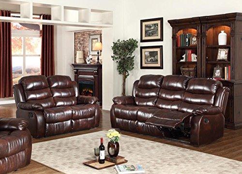 GTU Furniture Motion Sofa Loveseat Recliner Living Room Bonded Leather Set (Sofa and Loveseat, Brown) price