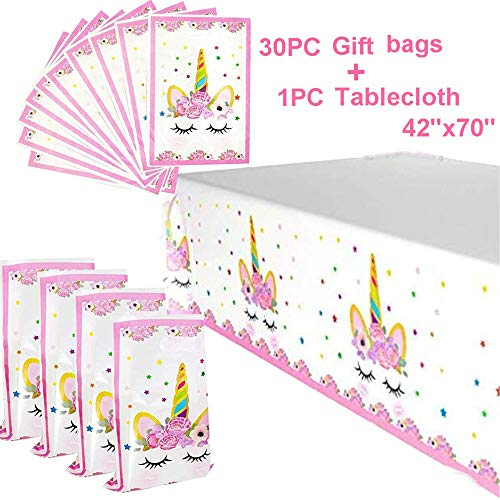 Unicorn Party Favors Bags And Unicorn Plastic Table Cover | Unicorn Themed Birthday Party Decorations | Unicorn Party Supplies Set | Unicorn Party Favors For Kids| Magical Unicorn Party Supplies For G