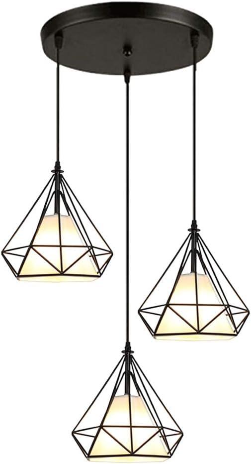 STOEX Rétro Suspension Luminaire Metal Design Diamant Noir, Lustre Abat jour 20cm Fer Lampe Suspendu E27, Suspension Industrielle pour Chambre