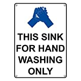 Weatherproof Plastic Vertical This Sink for Hand Washing Only Sign with English Text and Symbol