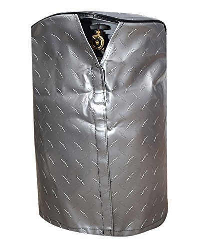 ADCO 2711 Silver Single 20 Diamond Plated Steel Vinyl Propane Tank Cover ()