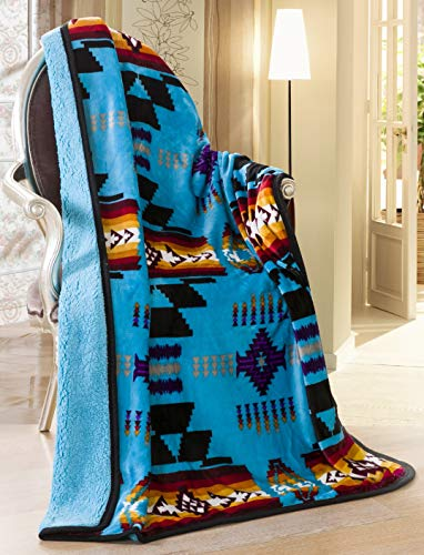 Southwest Design (Navajo Print) Sherpa Lined Throw 16112 Turquoise Blue