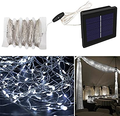 Eonfine Luces tiras de solares en alambre de cobre Flexible 72 pies 150 LED cadena al aire libre hadas luces tiras de Solar,luces ambiente,iluminación para exteriores,jardines, casas, fiesta de Navidad--2 modos (continuo /