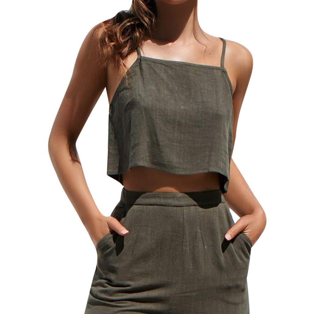 Womens Cotton Linen Shirt Sale, Ladies Sleeveless Crop Cami Tops Camisole Casual Solid Shirts Tank Top Blouse