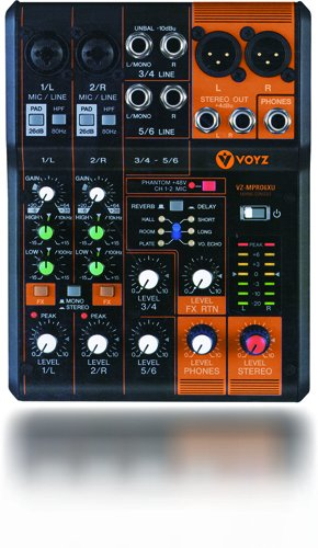 VOYZ Professional 6 Channels Audio Mixing Console Ultra Slim with Phantom Power, Effects and Equalizer (VZ-MPRO6XU) by VOYZ