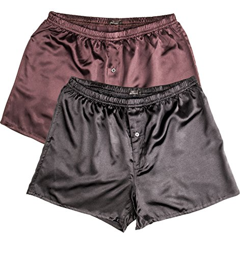 Noble Mount Mens Premium Satin Boxers - 2Pack - Solid Black-Burgundy - Large