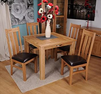 Exeter Solid Oak Dining Room Furniture Square Extending Table With Drawer