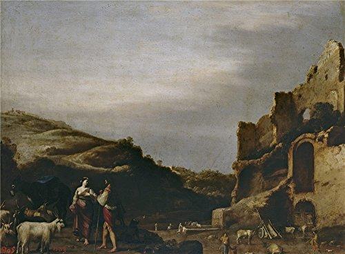 The Polyster Canvas Of Oil Painting 'Poelenburch Cornelis Van Paisaje Con Ruinas Romanas Y Pastores 1622 23 ' ,size: 24 X 33 Inch / 61 X 83 Cm ,this High (Headlamps Crystal Diamond)