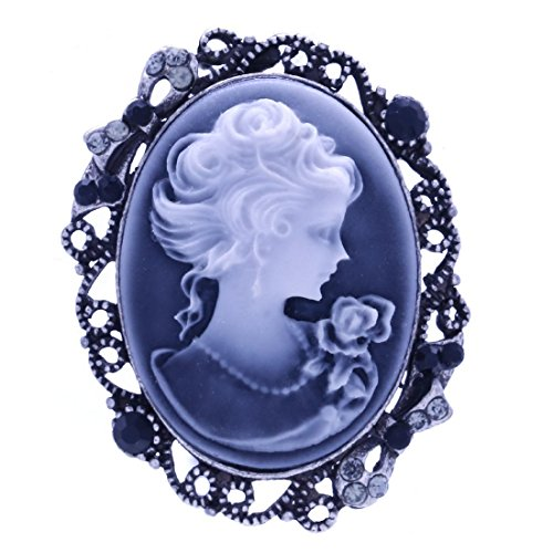 Soulbreezecollection Gray Cameo Brooch Pin Charm Women Necklace Pendant (Cameo Pin Pendant Brooch)