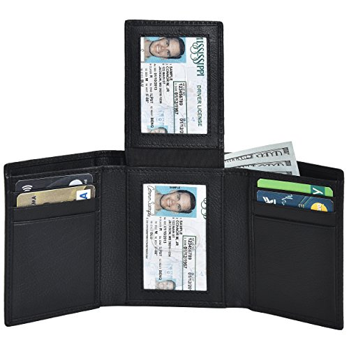 RFID Leather Trifold Wallets - Handmade Slim Mens Wallet Credit Card Holder with ID Window (Black Nappa)