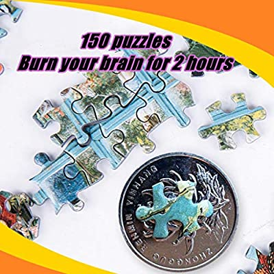 Binory 150 Pieces Children Jigsaw Puzzles, Fun Challenge Decompression Cartoon Intelligence Puzzles Brain Game Educational Toys Xmas Birthday Gift for Kids Toddlers Infants(Quiet Town): Toys & Games