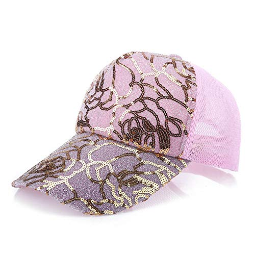 (New Printing Lace Adjustable Soft Sun Protection Summer Baseball Hats Mesh Cap Unisex Women Men Sport Pink)