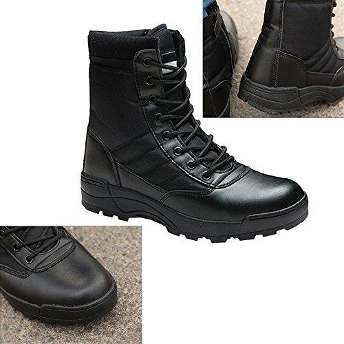 Militare Nero Combattimento Moda Montagna Caldo Stivali BOZEVON Uomo Piatto Nero Sneakers Trekking Stivaletti Invernali Caviglia Outdoor Scarpe xFZ1nq