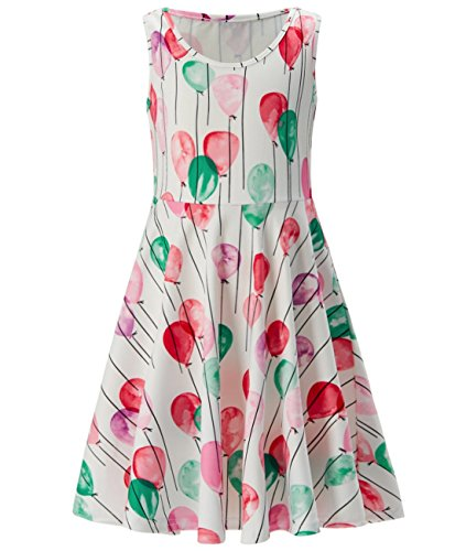 Idgreatim Girl Print Balloon Dress Sleeveless Casual Floral Sundress for Party ()