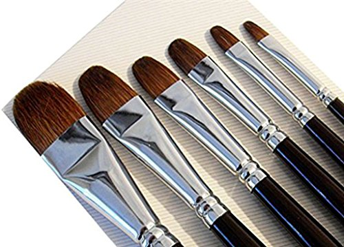 Paul Cezanne Artist Paint Brushes - Top Quality Red Sable (Weasel Hair) Long Handle, Filbert Paint Brush Set For Acrylic, Oil, Gouche and Watercolor Painting (Top Quality Paint)