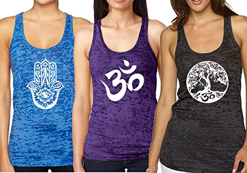 Yoga Tank Top – Burnout Racerback Pack of 3 (Small, Black/Dark Blue/Purple)