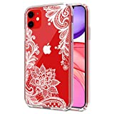 iPhone 11 Clear Floral Pattern Case, Slim Fit Case Flowers Shockproof Design, Hard PC Back Cover & Soft TPU Bumper [Support Wireless Charging], Rugged Protective Lace Case Cover Cubevit - 2019(6.1')