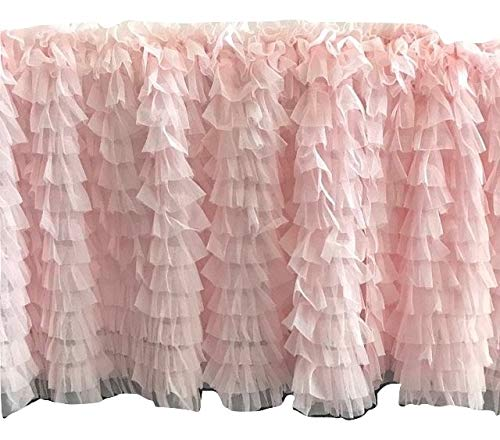 A Vision to Remember Light Baby Pink Ruffle Tulle Valance Extra Wide Window Treatment ()
