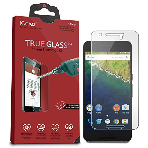 iCarez Tempered Glass Screen Protector for Huawei Google Nexus 6P with Lifetime Replacement Warranty - Easy Install [1-Pack 9H 0.3MM 2.5D] Retail Packaging