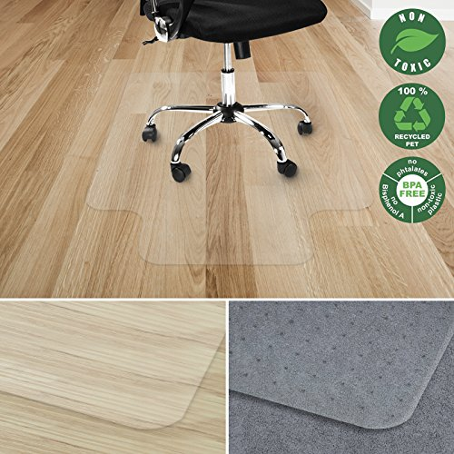 Office Marshal Chair Mat with lip for Hard Floors | Eco-Friendly Series Chair Floor Protector | 100% Recycled (PET) Floor Mat for Office or Home Use | Multiple Sizes | Translucent - 30'' x 48'' by Office Marshal