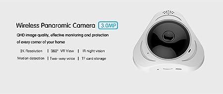 Amazon com : 3MP Smart Wireless WIFI IP Camera Fisheye Lens 360