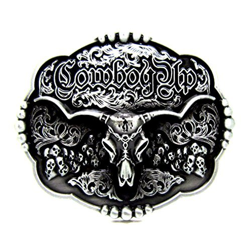 MASOP Engraved Animal Longhorn Bull Head Skull Texas Belt Buckle Vintage Cowboy