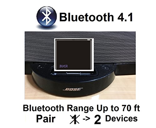 BMR A2DP 4.1 Bluetooth Music Receiver Adapter for Bose SoundDock, 30 pin Docking Station, iPhone, Samsung, Nokia, HTC, LG, Echo Alexa 2 If you are tired of out of sync and need to re-sync when walking out of the bluetooth signal working range (~ 20 ft), this long wireless range 30 pin bluetooth music receiver is the solution.