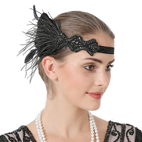 Sparkling Flapper Headband 1920s Art Deco Gatsby Feather Headpiece for Women (Black 1) ()