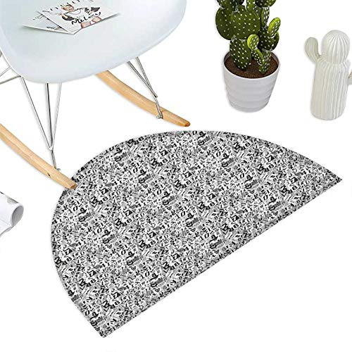 Letter Semicircular Cushion Greyscale Illustration of Numbers Letters Collage Alphabet Composition Entry Door Mat H 47.2'' xD 70.8'' Pale Grey Black White