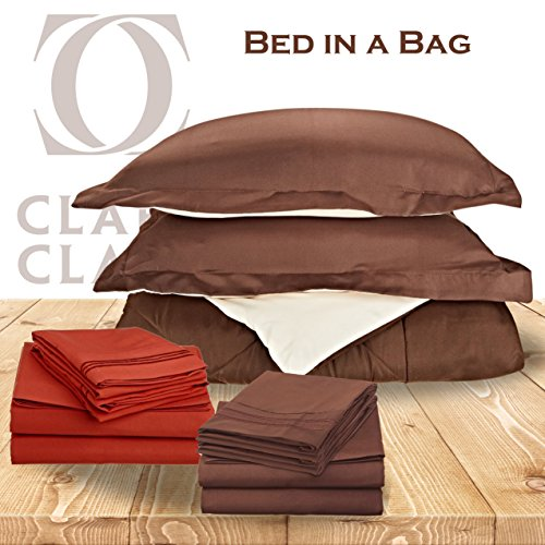 - Clara Clark 11-Piece Bed in A Bag, King, Reversible Brown/Cream Comforter with Coordinating Brown & Orange 1800 Bed Sheets