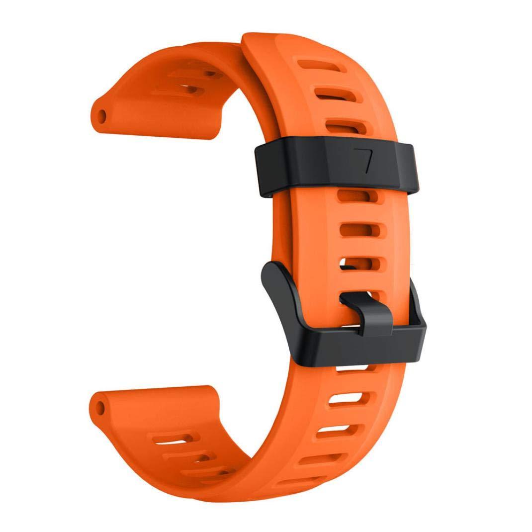 For Garmin Fenix 5X Plus,KFSO Soft Silicone Strap Replacement Watch Band (Orange)
