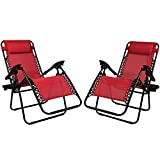 Sunnydaze Red Zero Gravity Lounge Chair with Pillow and Cup Holder, Set of Two