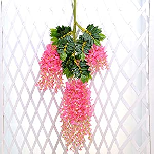 Coobl 3.6 Ft Realistic Romantic Classic Artificial Fake Wisteria Vine Ratta Silk Flowers for Garden Floral Decoration DIY Living Room Hanging Plant Vine Home Party Wedding Decor 12 Pcs (Pink) 2
