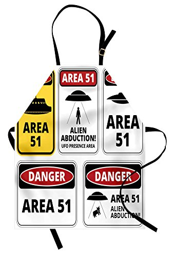 Lunarable Outer Space Apron, Comic Alien Abduction Signs Composition Area 51 Ufo Presence Fantasy Concept, Unisex Kitchen Bib Apron with Adjustable Neck for Cooking Baking Gardening, Black and Red ()